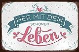 Grafik-Werkstatt 60683 Wand-Schild | Vintage-Art | Her mit Dem schönen Leben | Retro | Nostalgic |Blechschild | Deko Blechschild - Wandschild, Metall, Uni, 30 x 20 cm