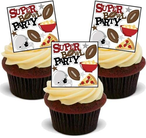 Super Bowl Party - 12 essbare hochwertige stehende Waffeln Karte Kuchen Toppers Dekorationen, Super Bowl Party - 12 Edible Stand Up Premium Wafer Card Cake Toppers Decorations