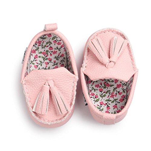Ouneed® Krabbelschuhe , Baby Mädchen Jungen weiche alleinige lederne Schuhe weiche untere Schuhe flache Schuhe Rosa