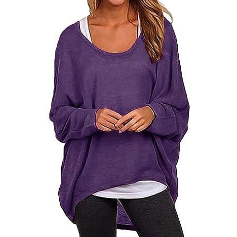 West See Damen Frauen Asymmetrisch Langarm T-shirt Tops Bluse Oberteile Pullover Oversized Baggy (EU XL(Herstellergrößer XXL), Lila)