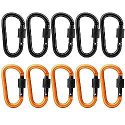 Gimars 10-er Karabiner Schlüsselanhänger Aluminum-legierung Karabinerhaken Mit Schraubverschluss, Schwarz Und Orange