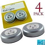 Bid Buy Direct Push Light LED-Lichter, mit Druckschalter und selbstklebender Rückseite, 4Stück