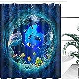 Janolia Duschvorhang Sea World Badvorhang, wasserdicht, schimmelfest, mit 10 Haken, Delfin-Dekoration für freistehende Badewanne, Feuchtraum, Dusche und Fenster, 150x180cm