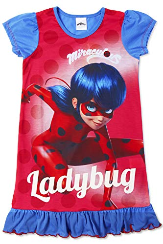Disney Princess & Tv Character Mädchen Nachthemd Mit König Der Löwen, Aladdin, Cinderella, Paw Patrol, Little Mermaid | Kindernachtwäsche Mit Prinzessinnen (5/6 Jahre, Miraculous Ladybug)