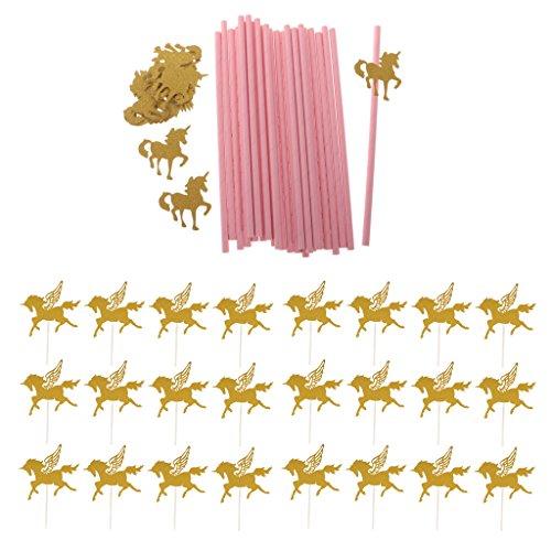 Homyl 25x Einhorn gestreifte Strohhalme und 24x Flügel Pferd Kuchen Topper Kuchendeko für Baby Taufe Dusche Geburtstag Party