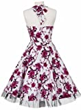1940s 1950s Vintage Style Pink Rose Full Circle Rockabilly Jive Swing Party Prom Tea Dress