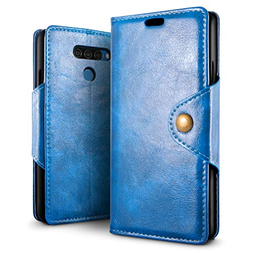 SLEO Hülle für LG Q60 / LG K12 Prime Hülle, Retro PU Lederhülle Wallet Deckel mit Kartensteckplätze Tasche für LG Q60 / LG K12 Prime - Blau