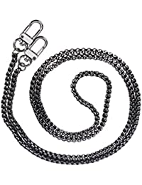 Metal Bag Strap Replacement Chain Strap With Buckles For Shoulder Cross Body Bag Handbag Purse (5mm Black Silver)