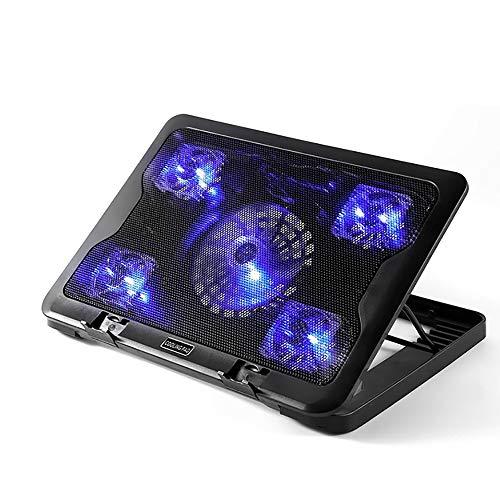 TBY Laptop Heizkörper Multi-Fan Mute USB-Kühl Polster Blaues Licht 6 Höhenverstellbar Rutschfeste Fußmatte -