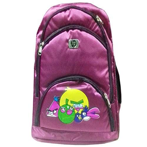 Rose Bud Angry Birds Cartoon Print Stylish Reddish Purple (10-15 Lts/13 inch/4-6 years) 5 Compartment Shoulder Strap Padding Polyester Backpack School Bag for Nursery and Junior School Girls and Boys Students (Doraemon, Chota Bheem, Ben 10, Barbie, Motu Patlu, Cinderella Princess, Sponge Bob, Honey Bunny, Subway Surfers, Micky Mouse, Bugs Bunny, Tweety, Goofy, Tom, Jerry, Donald duck, Snow White etc)  available at amazon for Rs.425