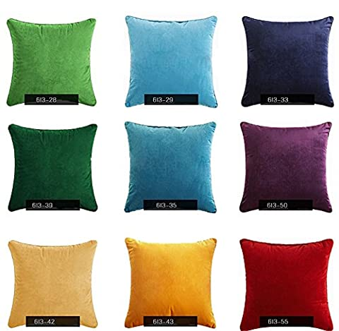 Nunubee Housse de coussin Simple-Style Couleur unie Flanelle tissu de velours Canapé Bureau Décoratif, vert foncé 45*45cm