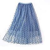 BINODA SKIRT Falda de Encaje de una línea de Princesa en Capas de Malla de Lunares de Tul Falda Midi Falda Maxi de Moda Informal (Color : Azul)