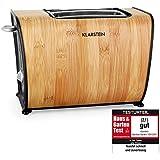 Klarstein Bamboo Garden Design Toaster aus Bambus-Holz (870W Holztoaster, Defrost / Reheat) braun