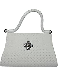 Kleio Women's Casual Broach Handbag (White)