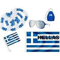 Kit XXL tifoso Grecia (FP-15) Set da 8 pezzi: 1 x piccola bandierina per la macchina, 1 x bandiera, 1 x caxirola, 1 x occhiali party, 4 x collane hawaiane europei mondiali coppa calcio eventi festa - Hummel Cuore