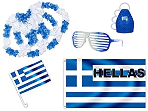 8 tlg. Alsino WM Fanpaket Griechenland FP-15 Fanartikel Fussball Fanset Fahne Caxirola Brille