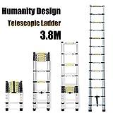 3,8m escalera telescópica escalera de aluminio multiusos extensión 13paso para oficina casa Loft