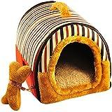 YOUJIA Cama felpa para perros y gatos - Casa para Mascotas Cama Cojin Casa de la Perrera Perrito (Rojo Raya,L)