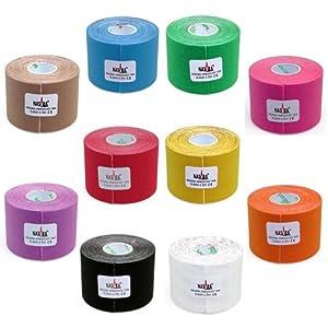 10x NASARA Kinesiologie Tape kinesiologische Tapes * 10 Farben im Set * 5m x 5cm