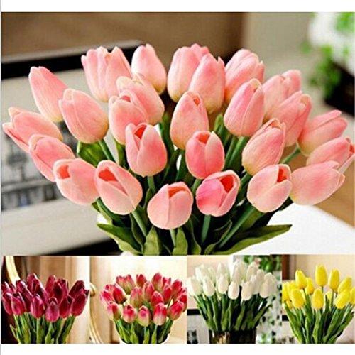 Mitlfuny Unechte Blumen,Tulpen Kunstblume Latex Real Touch Bridal Wedding Bouquet Home Decor, 10st Pfingstrose Floral künstliche Seide Künstliche Flanell Blume Brautstrauß