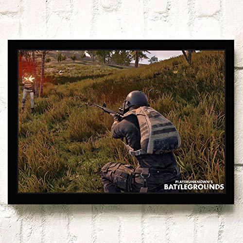 XWArtpic Gioco Online Caldo PUBG 3D Fps Spara sul Campo di Battaglia Sopravvivenza HD Poster Gioco Ruolo Arma Decorazioni per la casa Soggiorno Tela Pittura 90 * 120 cm