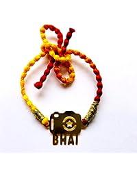 Feyre Designer Steel Gold Polish Personalised Rakhi For Bhai/Brother/ Bhaiya- (Camer Bhai)