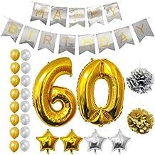 Globos Cumpleaños Happy Birthday #60, Suministros y Decoración por Belle Vous - Set 24 Piezas - Globo Grande Aluminio de 30,5cm 60 Años - Globos De Látex Dorado y Plateado - Decoración para Adultos