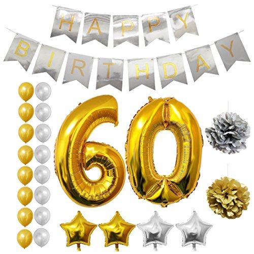 Globos Cumpleaños Happy Birthday #60, Suministros y Decoración por Belle Vous   Globo Grande de Aluminio 60 Años   Decoración Globos De Látex Dorado y Plateado   Aptos para Todos los Adultos