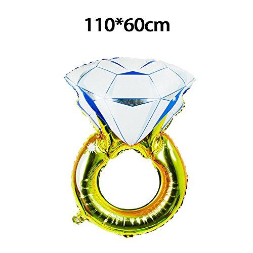 Hemore Ballon großer Diamantring (110 * 60cm) Dekorativer Ballon für Hochzeitsfest-Dekorationen/Jahrestag/Party/Party