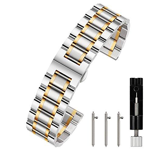 Berfine 22mm Uhrenarmbänder Schnellverschluss Edelstahl Uhrarmband mit Faltschließe Metall Uhr Armband Uhren Band Silber-Gold