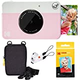Kodak Printomatic Sofortbildkamera (Rosa) Basis-Paket + Zinkpapier (20 Blätter) + Luxus-Etui + Bequemer Halsriemen