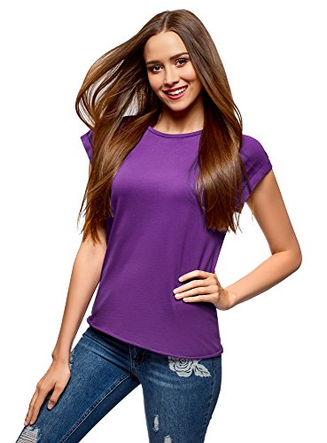 Oodji ultra donna t-shirt in cotone basic, viola, it 42/eu 38/s