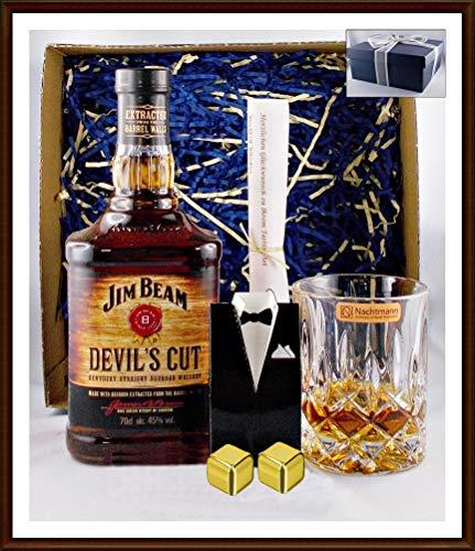 Geschenk Jim Beam Devil`s Cut 90 Whiskey mit 2 Original Edelstahl Kühlsteine, goldfarbend, im Smoking + Whisky Glas Nachtmann kostenloser Versand Cut Glas Whiskey