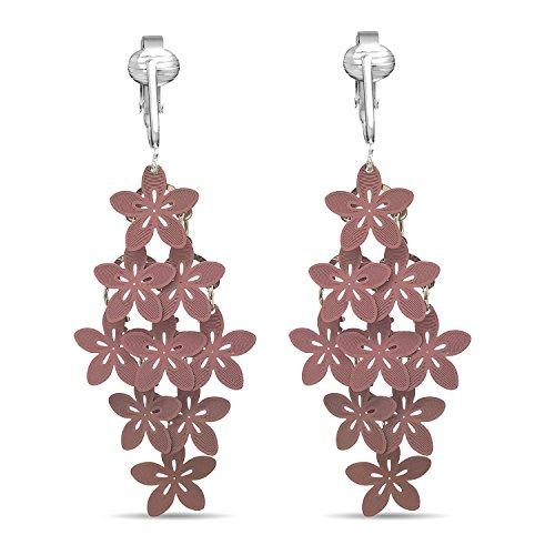 Custom Design Pink Ribbon Clip auf earrings-fight Brustkrebs, Omegaclip ohne Durchstechen ears-trendy Stil w Glas