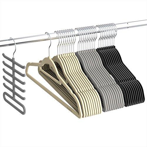 Kleiderbügel, Sable Anzugbügel Jackenbügel 30 Stück, 0,5cm dick, Antirutsch, um 360° drehbarer Haken Multifunktionsbügel für Kleider/Jacken/Hosen/Krawatte, 3 Farben, Krawattenbügel inklusive (Farbe-krawatte Tragen)