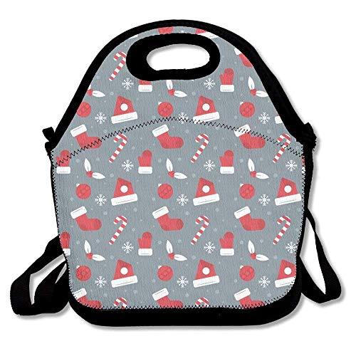 Dozili Lunchtasche mit rotem Hut, große und dicke Neopren, isolierte Lunch-Tasche, Kühltasche, warm, mit Schultergurt, für Damen, Teenager, Mädchen, Kinder, Erwachsene