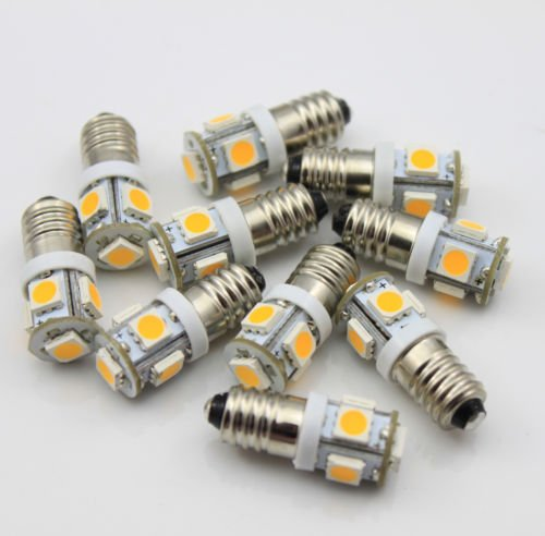 10x-LED-Birne-Warmweiss-E10-6V-Volt-AC-DC-Fahrrad-5-SMD-Schraubsockel-Lampel