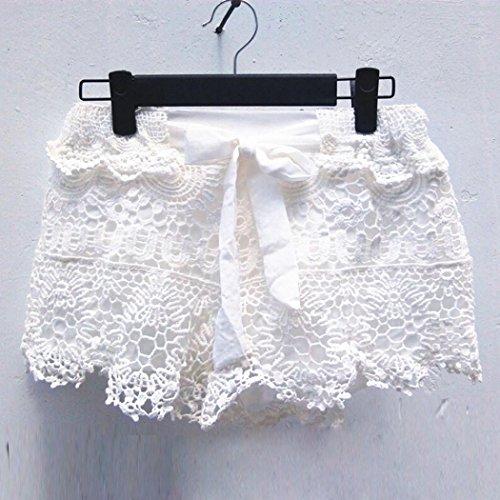 Bekleidung Longra Damen Shorts Sommerelastische  TaillenSpitzeHäkelarbeitStrandMinikurzschlüsse heiße Hosen White