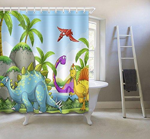 Dibujos Animados Bosque Animal Cortina De Ducha, Linda Dinosaurio Decoración de baño De Tela De Poliéster Con Ganchos, 60x72 Pulgadas, Verde, Rojo, Amarillo, Piedra