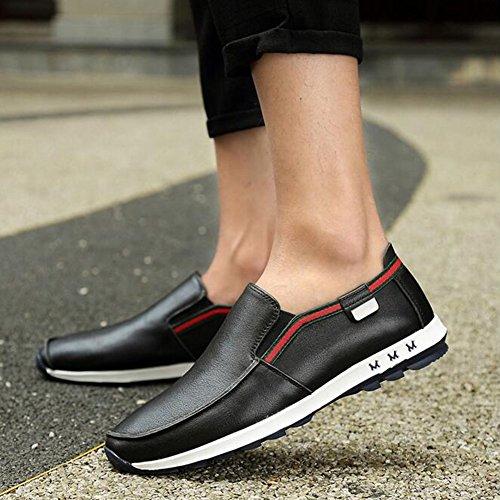 HUAN Chaussures en Cuir Pour Hommes Casual Peas Chaussures Chaussures Pour Hommes British Style Business Black