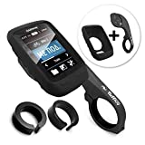 TUFF LUV [Combo / Kit 3 in 1], Étui de protection en silicone et protecteur d'écran Fixation Avant / Ordinateur de Guidon Support mount pour Garmin Edge Touring 800 / 810 / Touring with Out-Front Handlebar Mount - Noir