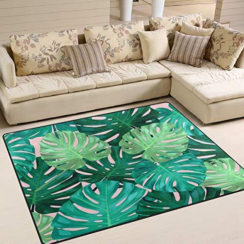 Use7 Fashion Monstera Blätter tropischer Sommerteppich Teppich für Wohnzimmer Schlafzimmer, Textil, Multi, 160cm x 122cm(5.3 x 4 feet) - Blätter Teppich