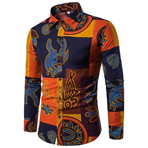 TEBAISE Urlaub Strand Stil Mens Oktoberfest Clubbing Reisen Dating dünne beiläufige Langarmhemd Business Slim Fit Shirt Druck Bluse Top(Mehrfarbig,EU-44/CN-M)