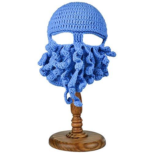 Winter Warm Handgefertigte Tintenfisch-Hüte Für Halloween-Party-Requisiten Gestrickte Wolle Gesicht Maske Beanies Männer Unisex Xmas Geschenk,Blue (Blue Christmas Hut)