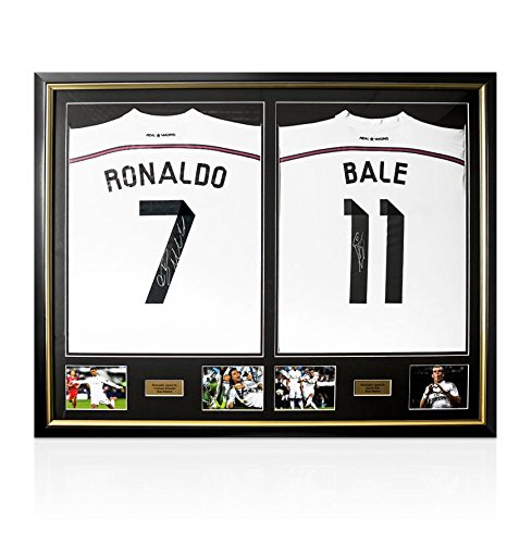 Framed-Cristiano-Ronaldo-Gareth-Bale-Hand-Signed-Real-Madrid-Shirts-Dual-Framed