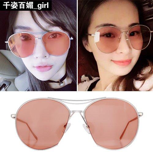 Sunyan Die Koreaner vernetzen sich mit Rot, transparent film Sonnenbrille Frau tide neue Schneide Persönlichkeit männlichen GD Sonnenbrille rundes Gesicht Gläser Silber Box Jelly Red Chip