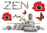 Planche stickers zen muraux mural scrapbooking enfants adultes maison cuisine salle de bain salon chambre bureau mur porte lit meuble vitre miroir boite mug autocollant waterproof A4
