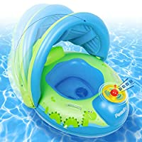 Peradix Inflatable Baby Pool Float Swimming Ring Baby Seat Boat Yacht with Sunshade for Age 6-36 months Toddler Children(With Repaire Patch)