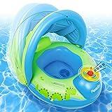 Peradix Piscina Salvagente per Bambini con Tettuccio Parasole Mutandina e Patch di Riparazione Baby Nuoto Anello Salvagente Regolabile Barca Gonfiabile Anello