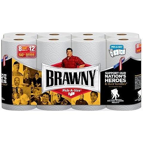 Brawny Paper Towels, Pick-A-Size, White, Giant Roll - 8 pk by Brawny